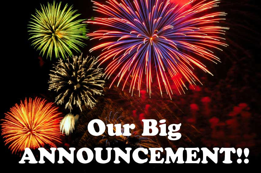 Our Big Announcement Fireworks Graphic