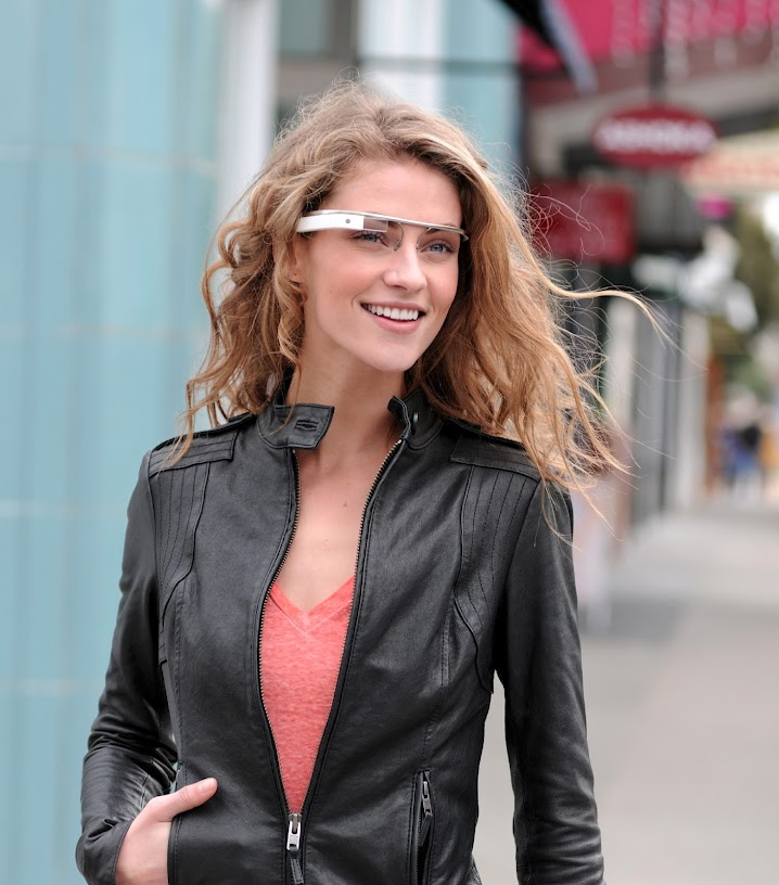Google Augmented Reality Glasses on Female Model
