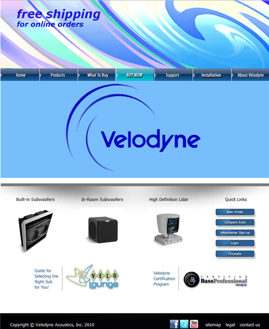 Velodyne Website Home Page