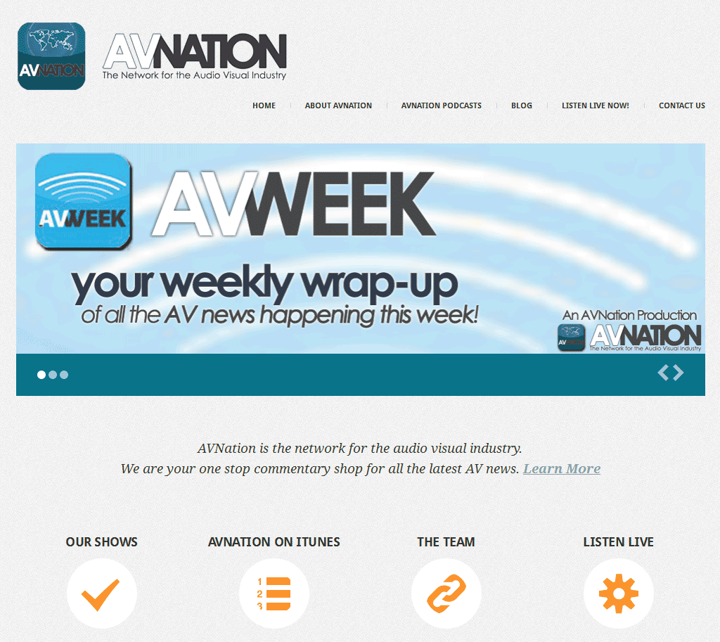 Graphic showing AVNation website