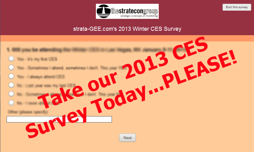 Graphic image of strata-GEE.com's CES Survey