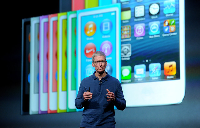 Photo of Tim Cook at product launch.