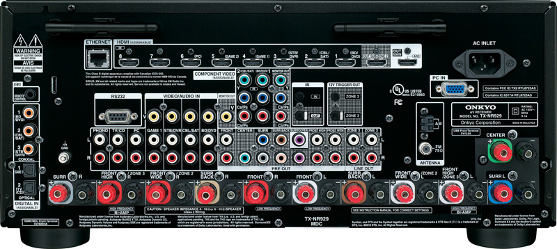 Photo of the back of the Onkyo TX-NR929