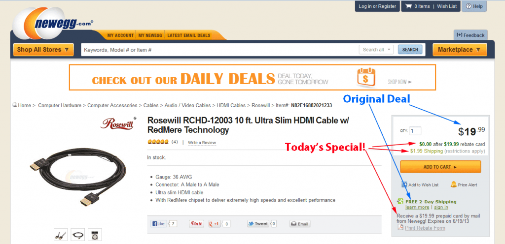 NewEgg's detail page on free HDMI cable