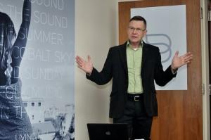 Photo of John Banks at press presentation
