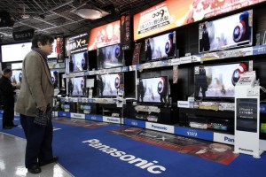 Photo of display of Panasonic flat-panel TVs