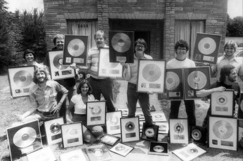 Photo of gold records recorded at Muscle Shoals Sound