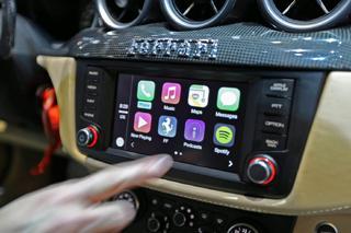 A photo of a Ferrari CarPlay system