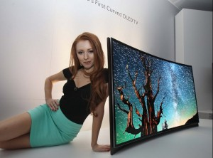Photo of model with Samsung OLED TV