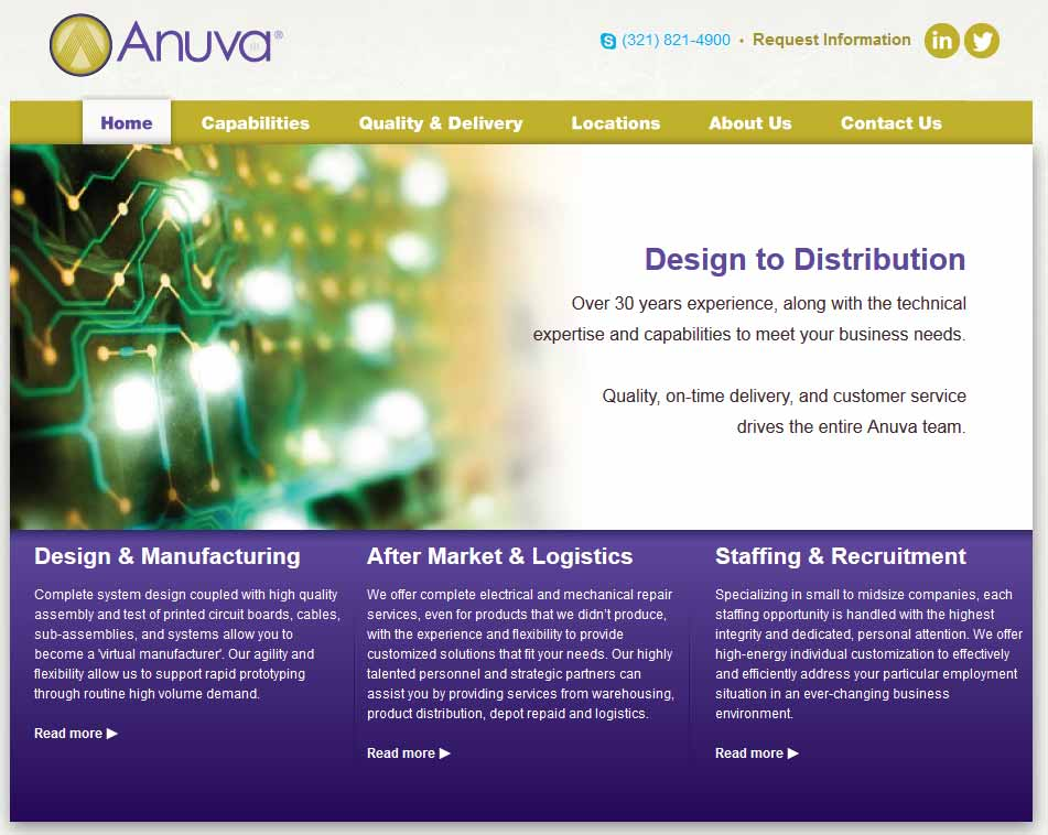 Photo of the Anuva website