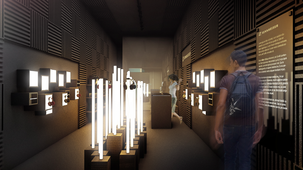 Artist rendering of Sennheiser pop up store design