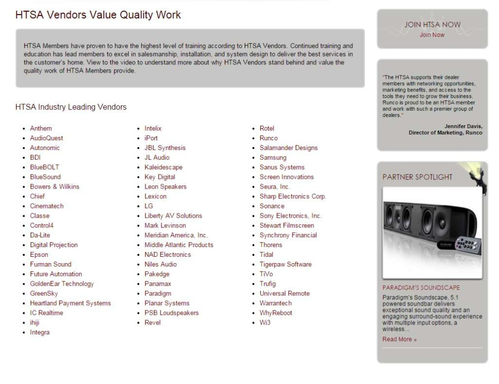 HTSA vendor list