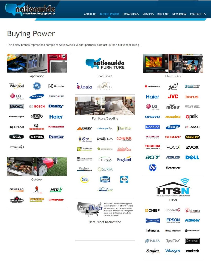 Nationwide list of vendors