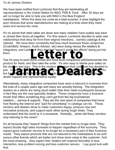 Letter to Jarmac Dealers