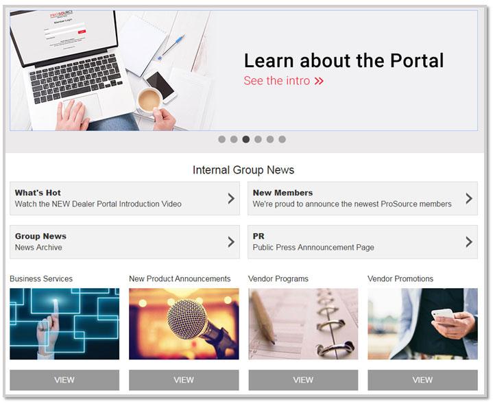 Screenshot of ProSource portal