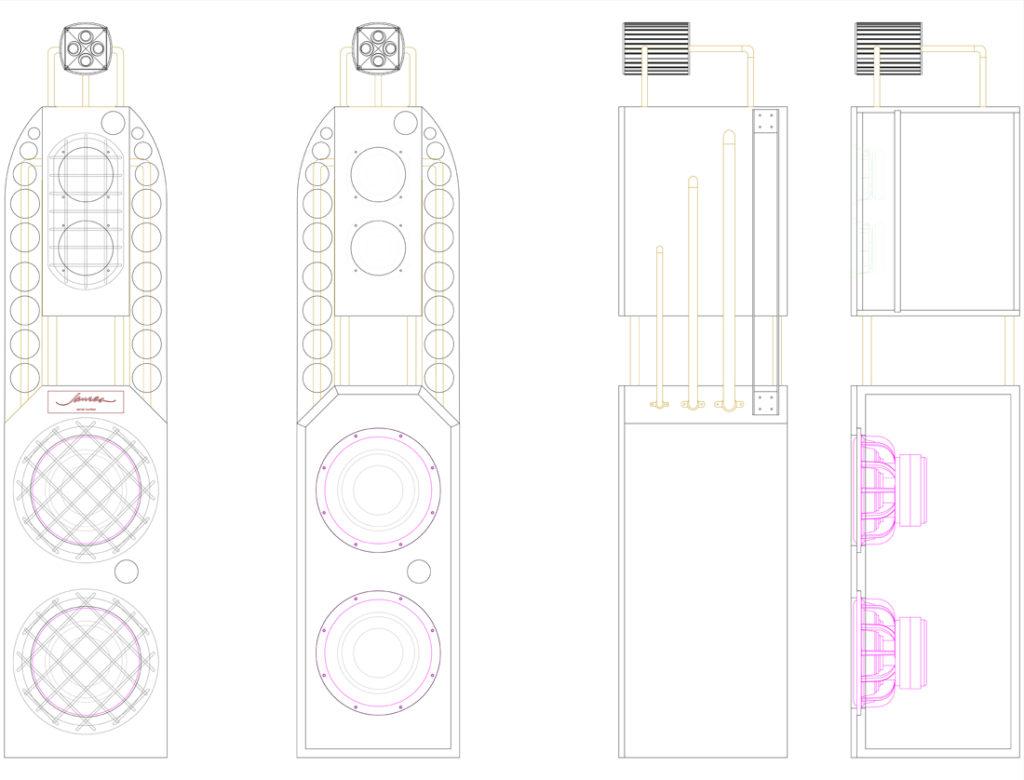 Engineering drawing of speakers