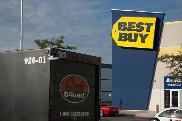 Best Buy store and Geek Squad truck