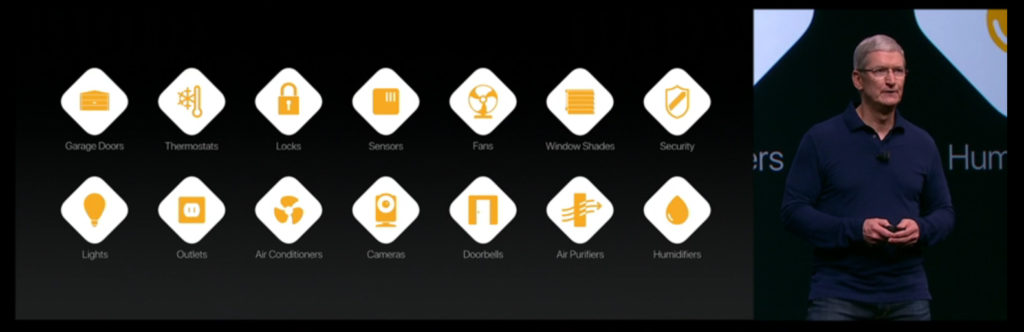 Slide showing categories of HomeKit
