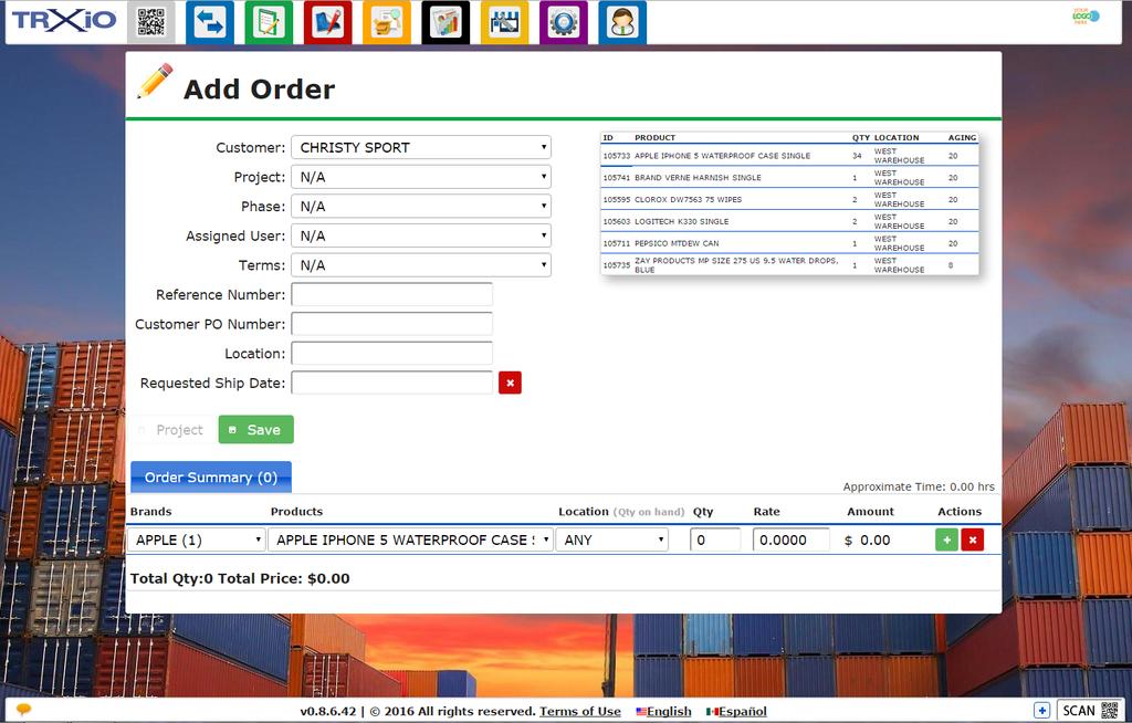 Screen shot of the TRXio software