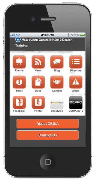 CEDIA app screen shot