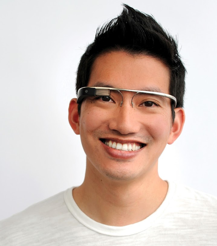 Google Augmented Reality Glasses on Male Model