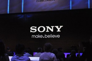 Sony logo on screen at CES press presentation