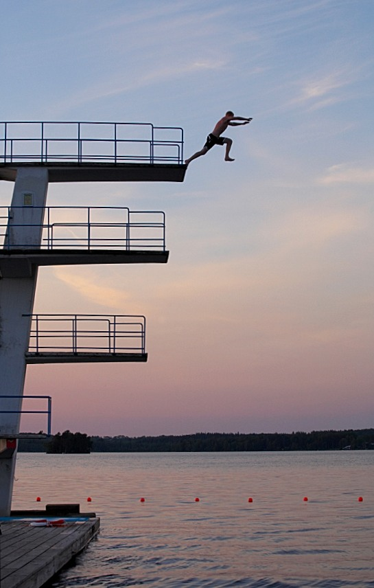 Leaping From a High Diving Platform