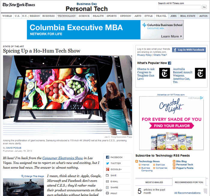 Screen shot of NY Times CES story