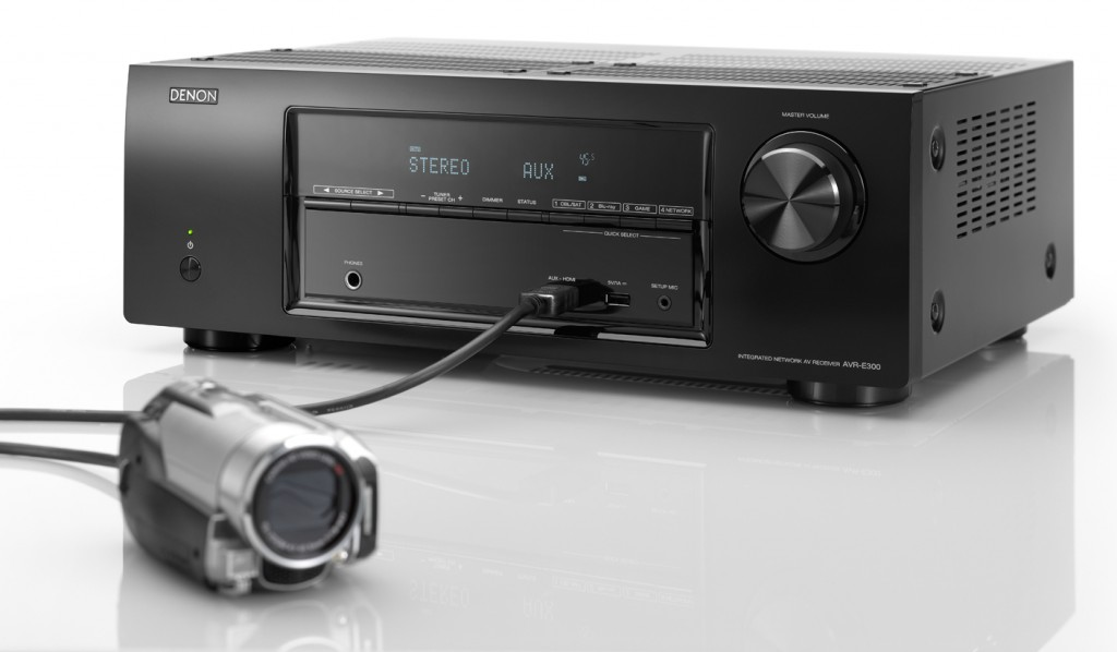 Photo of Denon AVR-E300 with camcorder connected