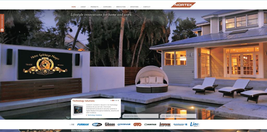 Image of Nortek Inc Website
