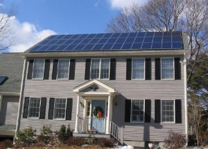 Photo of home with solar panels