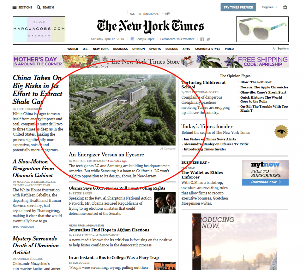 Picture of NY Times Home Page