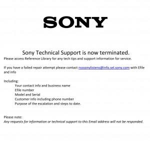Image of Sony dealer notification