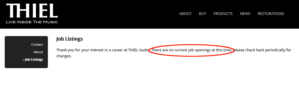 Job listings at Thiel