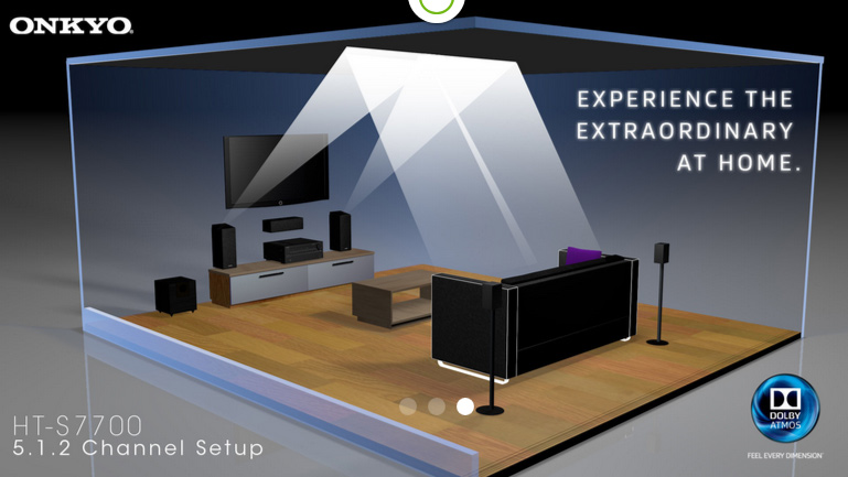 Graphic showing Atmos home theater