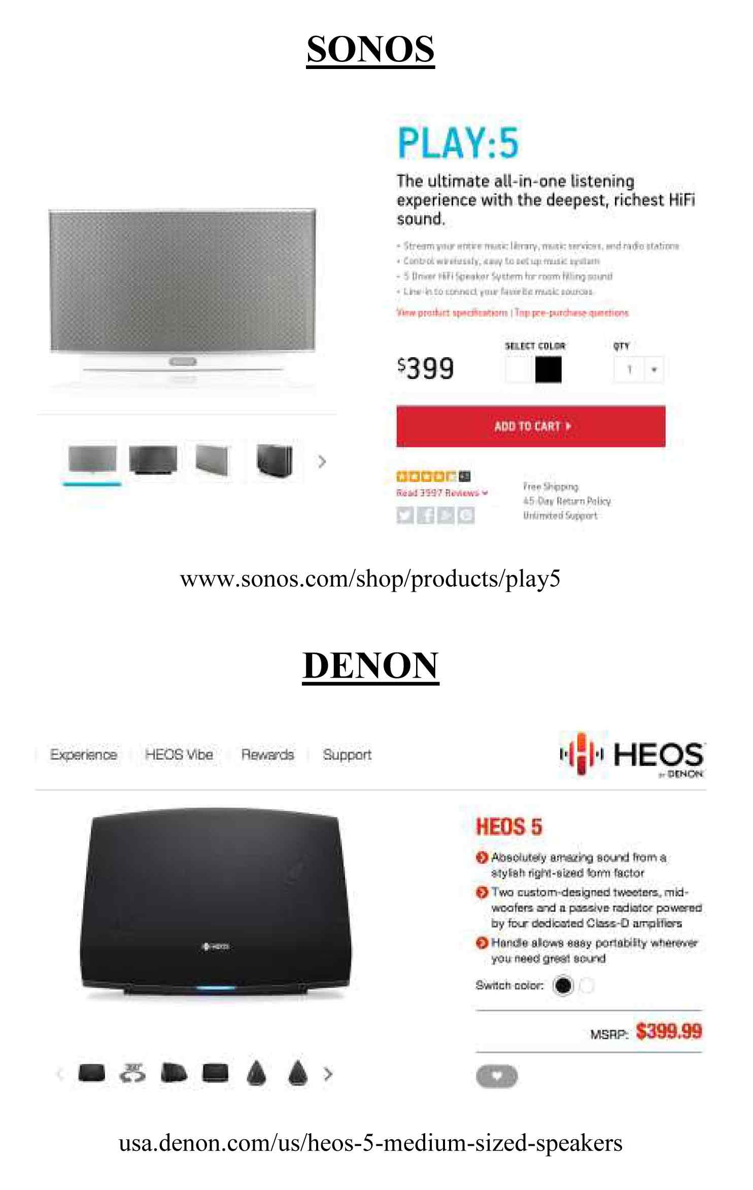 Comparison 1 of Sonos and HEOS website