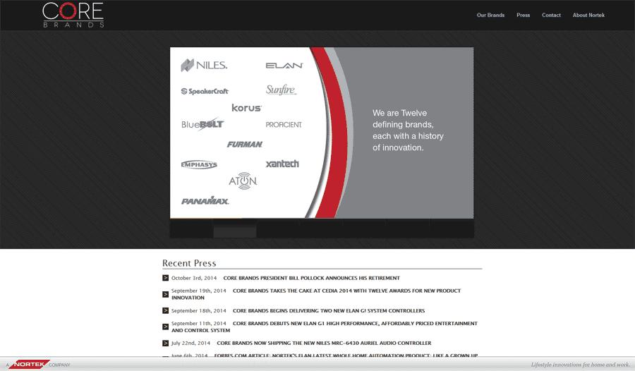 Image of Core Brands website