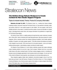 The DaVinci Group & Stratecon announcement
