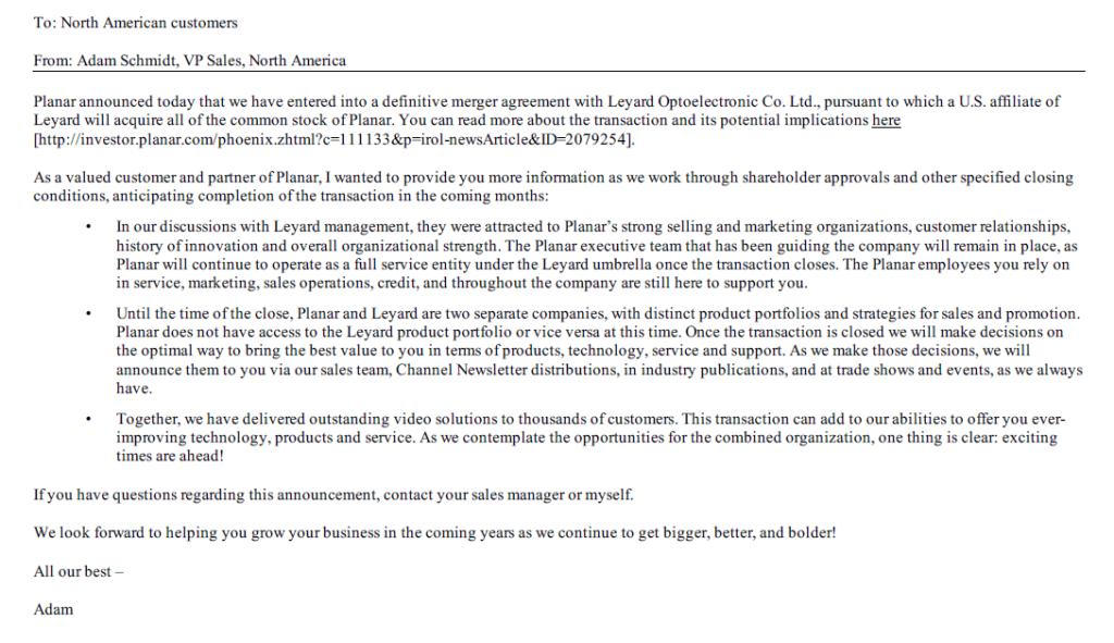 Planar Dealer Letter