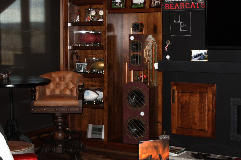 Steampunk speakers in client's home