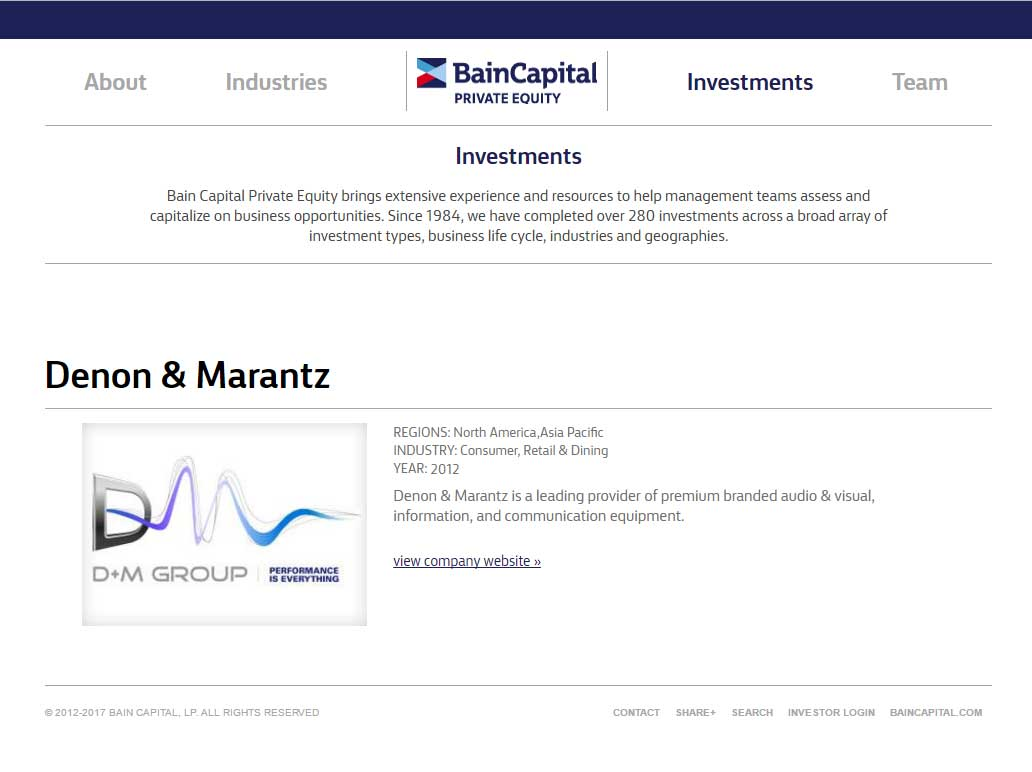 Bain Capital Website