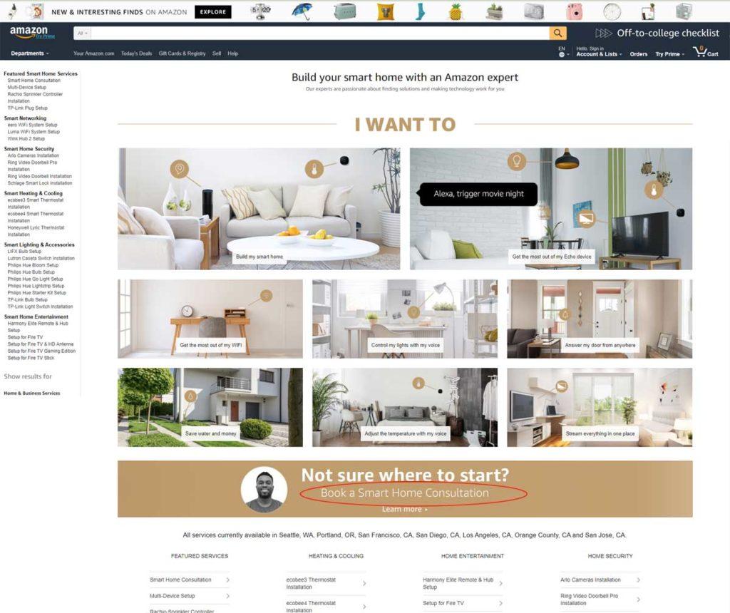 Amazon webpage w/consultation