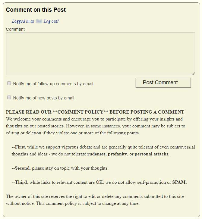 Strata-gee's Comment Policy