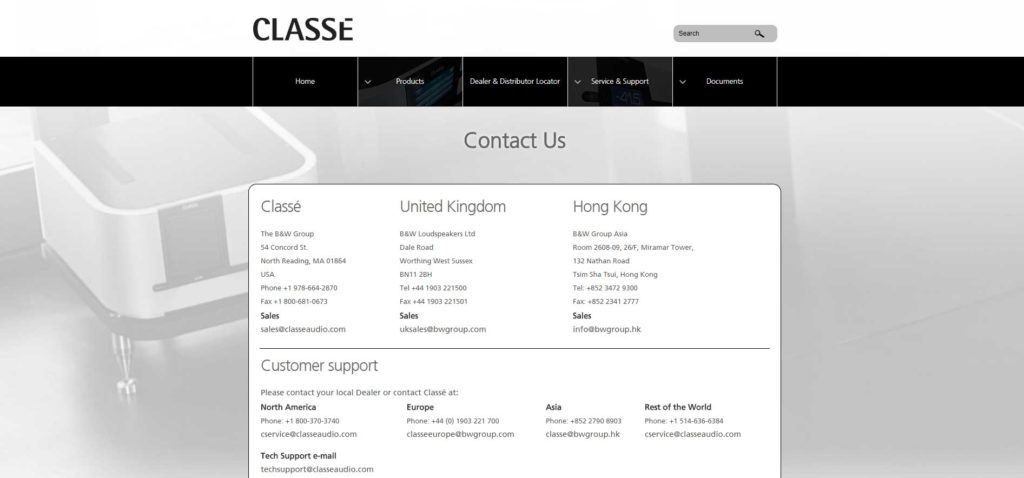 Classe's new contact page