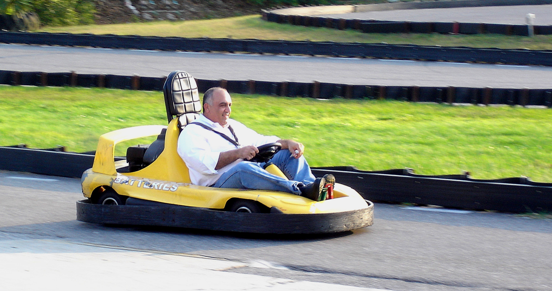 Monte Wood on a go-kart