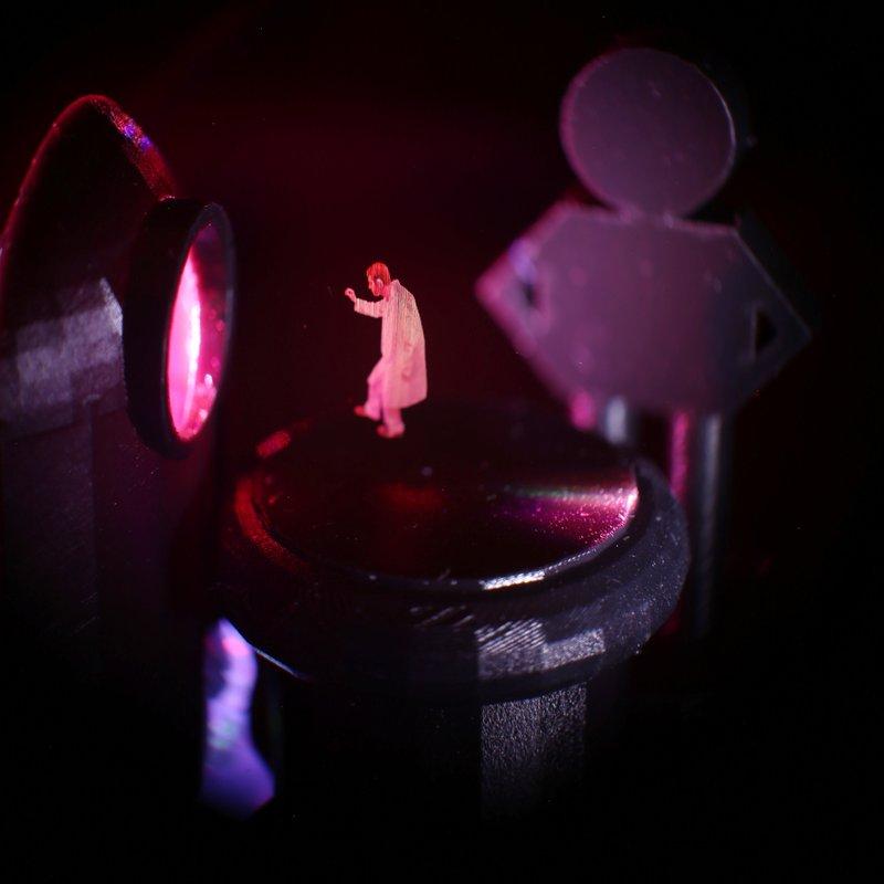 Holographic image recreating Star Wars scene