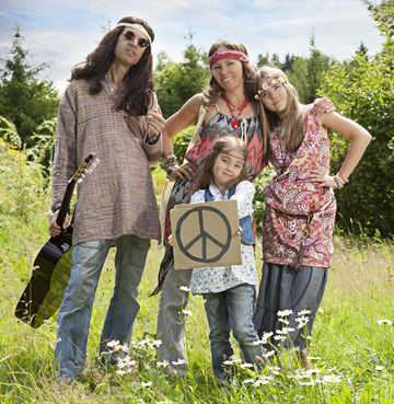 hippie family w/peace sign in wake of Denon's capitulation to the company's patent litigation