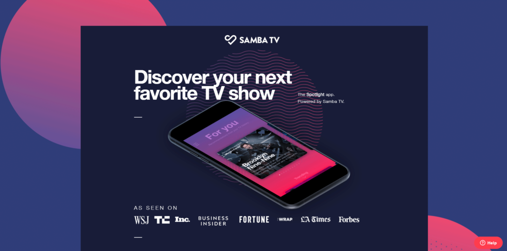 Screenshot from Samba TV website
