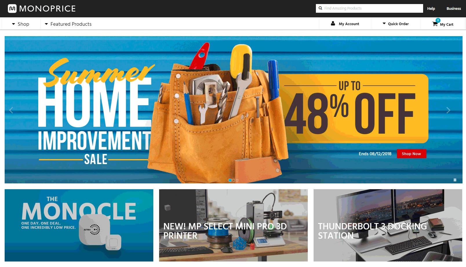 Monoprice's Homepage