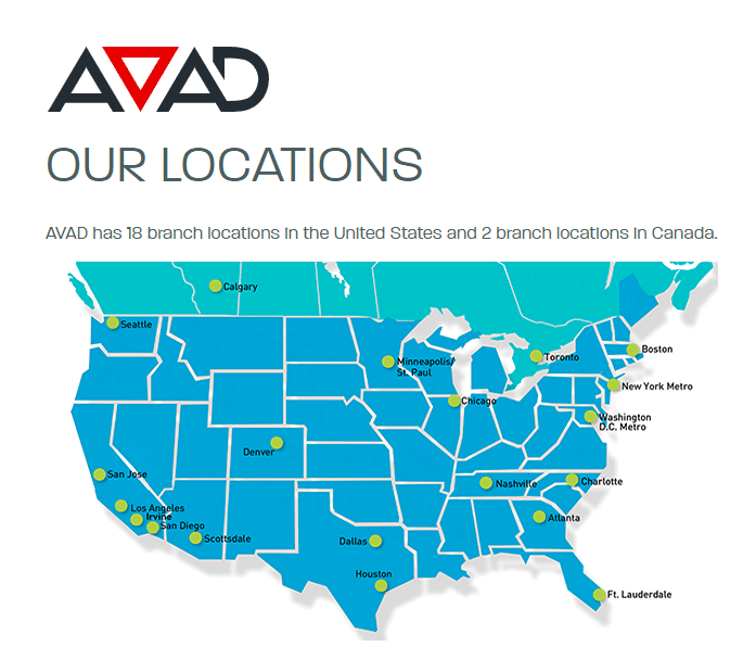 Graphic of AVAD locations